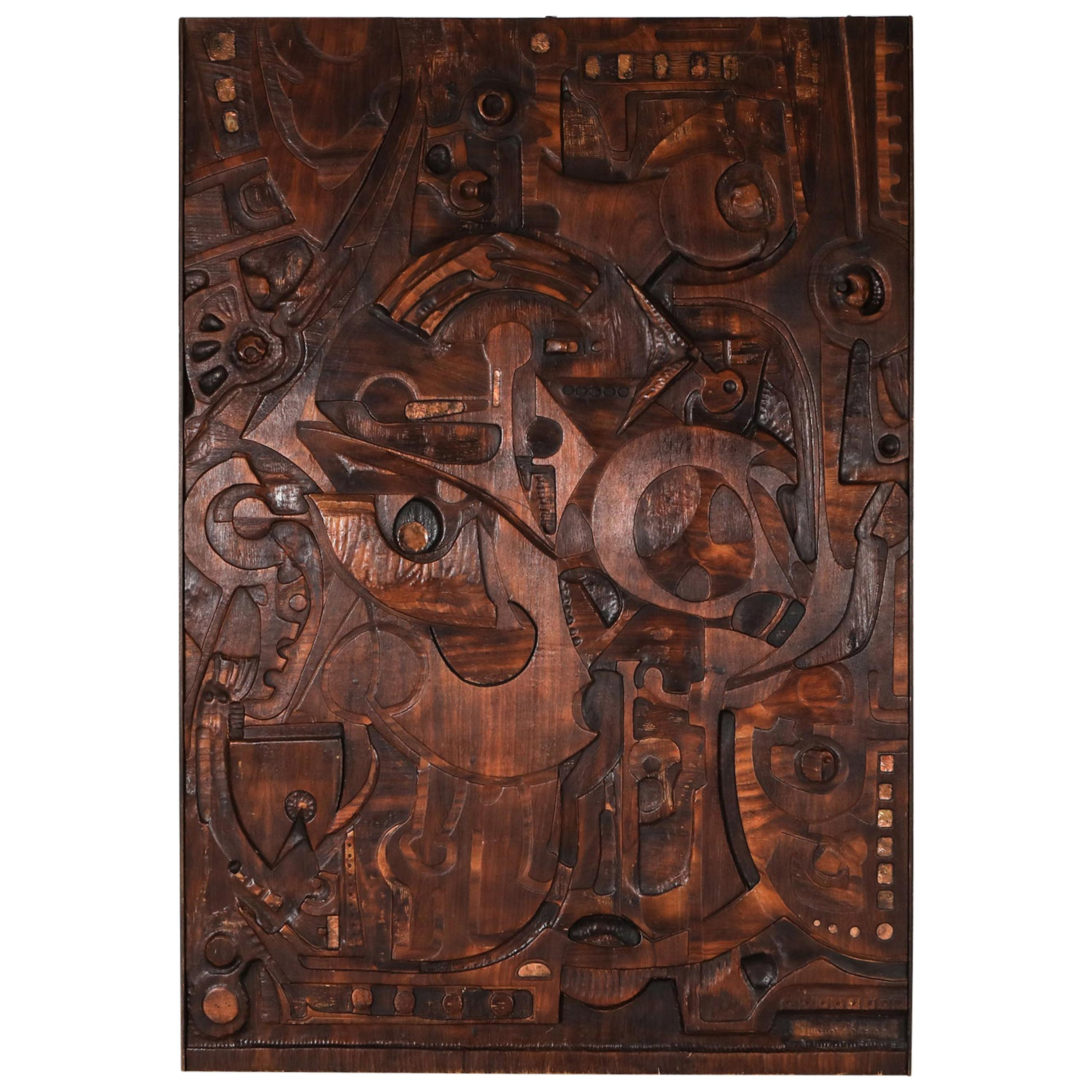 Carved Wall Panel by Studio Ponzio, Italy, circa 1960s