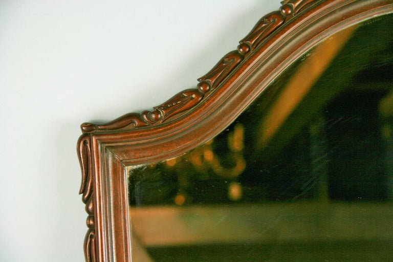 Mid-20th Century Carved Walnut Arch Top Mirror For Sale