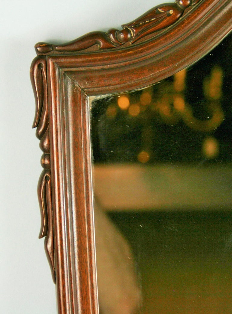 Carved Walnut Arch Top Mirror For Sale 1