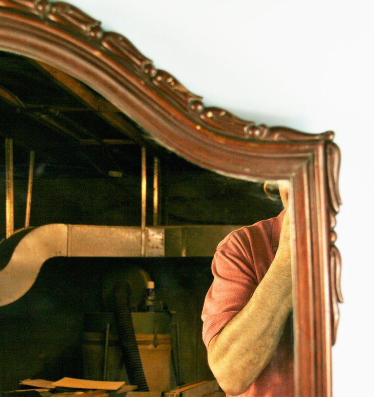 Carved Walnut Arch Top Mirror For Sale 3