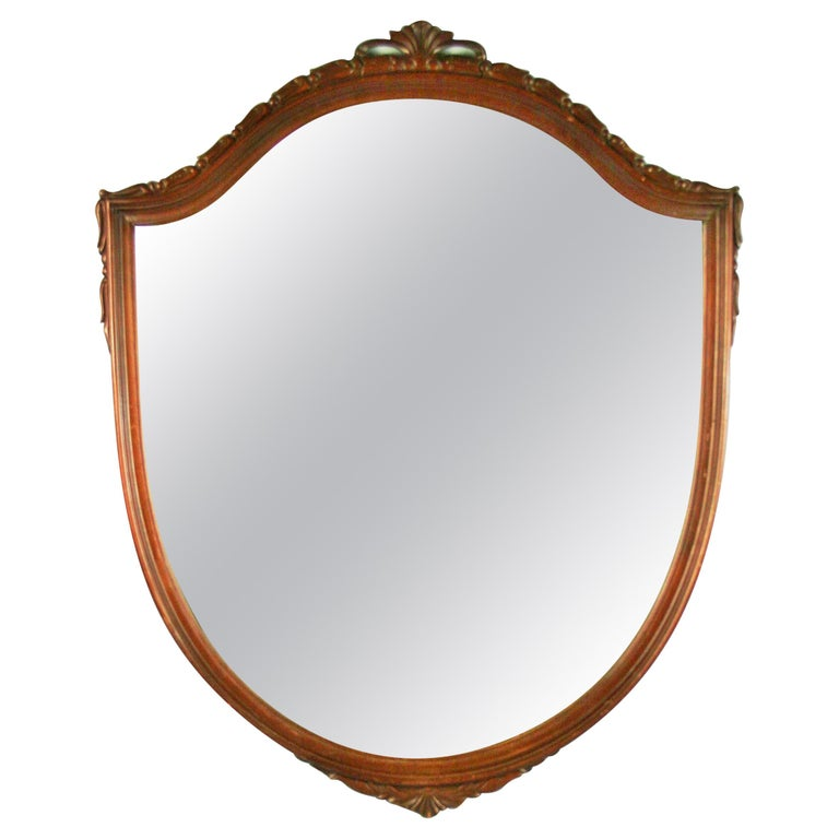 Carved Walnut Arch Top Mirror For Sale