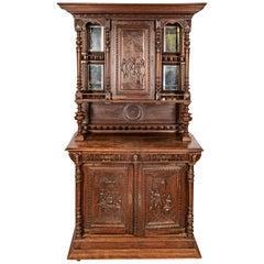 Carved Walnut Belgium Server, Mid-19th Century