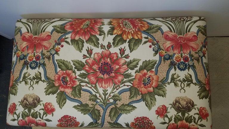 Carved Walnut Bench Upholstered in Brunschwig & Fils In Excellent Condition For Sale In Lambertville, NJ
