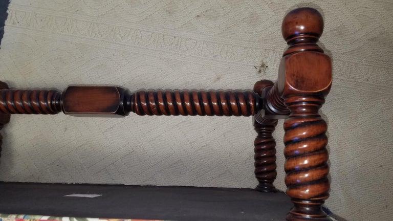 20th Century Carved Walnut Bench Upholstered in Brunschwig & Fils For Sale