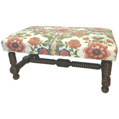 Carved Walnut Bench Upholstered in Brunschwig & Fils