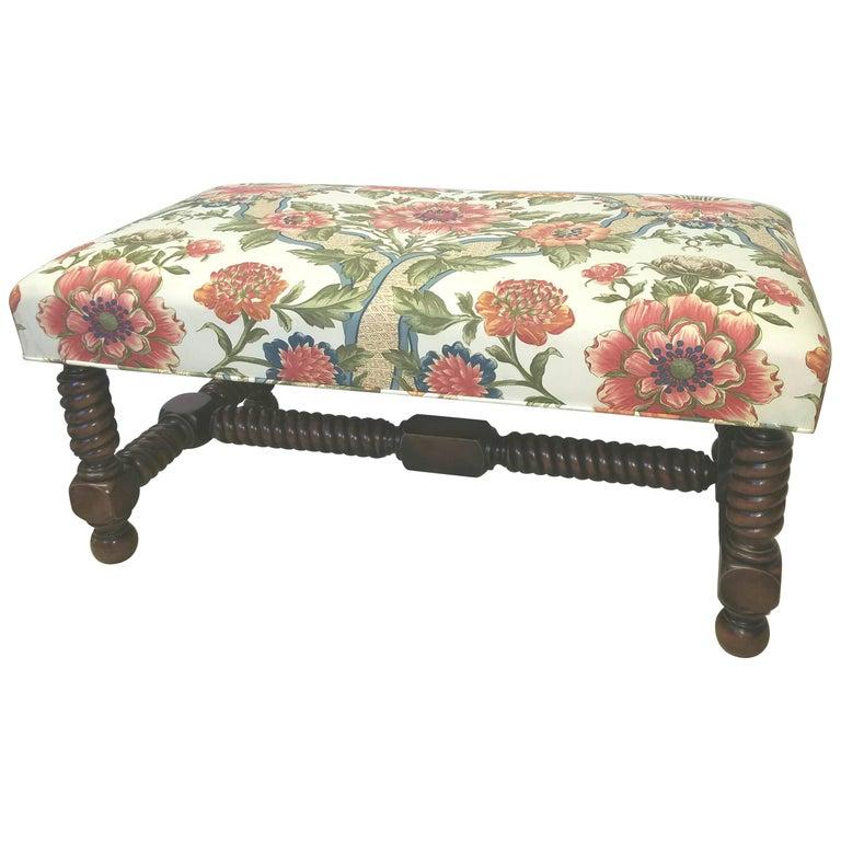 Carved Walnut Bench Upholstered in Brunschwig & Fils For Sale
