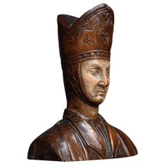 Carved Walnut Bishops Bust, circa 1820