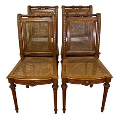 Carved Walnut & Cane Side Chairs, C.1940