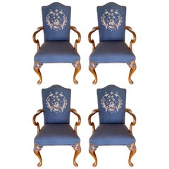 Carved Walnut Embroidered Needlepoint Dining Chairs, Set of 4