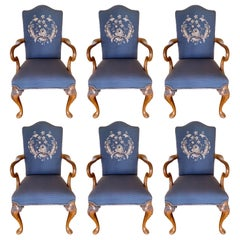 Carved Walnut Embroidered Needlepoint Dining Chairs, Set of 6