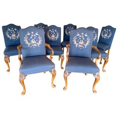 Carved Walnut Embroidered Needlepoint Dining Chairs, Set of 8