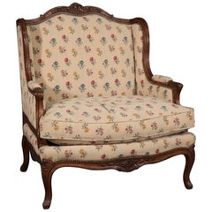 Carved Walnut French Louis XV Bergere Chair Marquis, Circa 1950