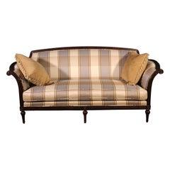 Carved Walnut French Louis XVI Style Dark Walnut Sofa, C1990