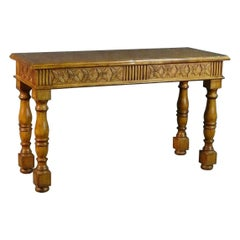 Carved Walnut French Provincial Style Console Table