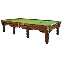 Carved Walnut Full Size Billiard Table and Accessories by Cox & Yeman