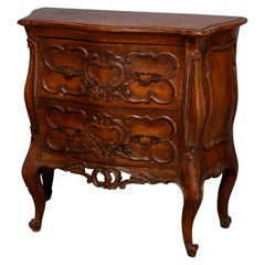 Carved Walnut Italian Rococo Style 2-Drawer Bombe Commode, 20th Century