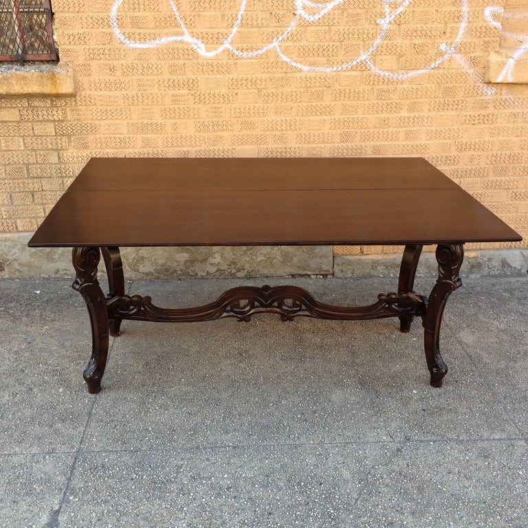 Carved Walnut Jacobean Refectory Console Dining Table In Good Condition For Sale In Brooklyn, NY