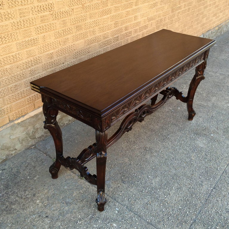 Early 20th Century Carved Walnut Jacobean Refectory Console Dining Table For Sale