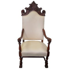 Carved Walnut Lolling Throne Chair