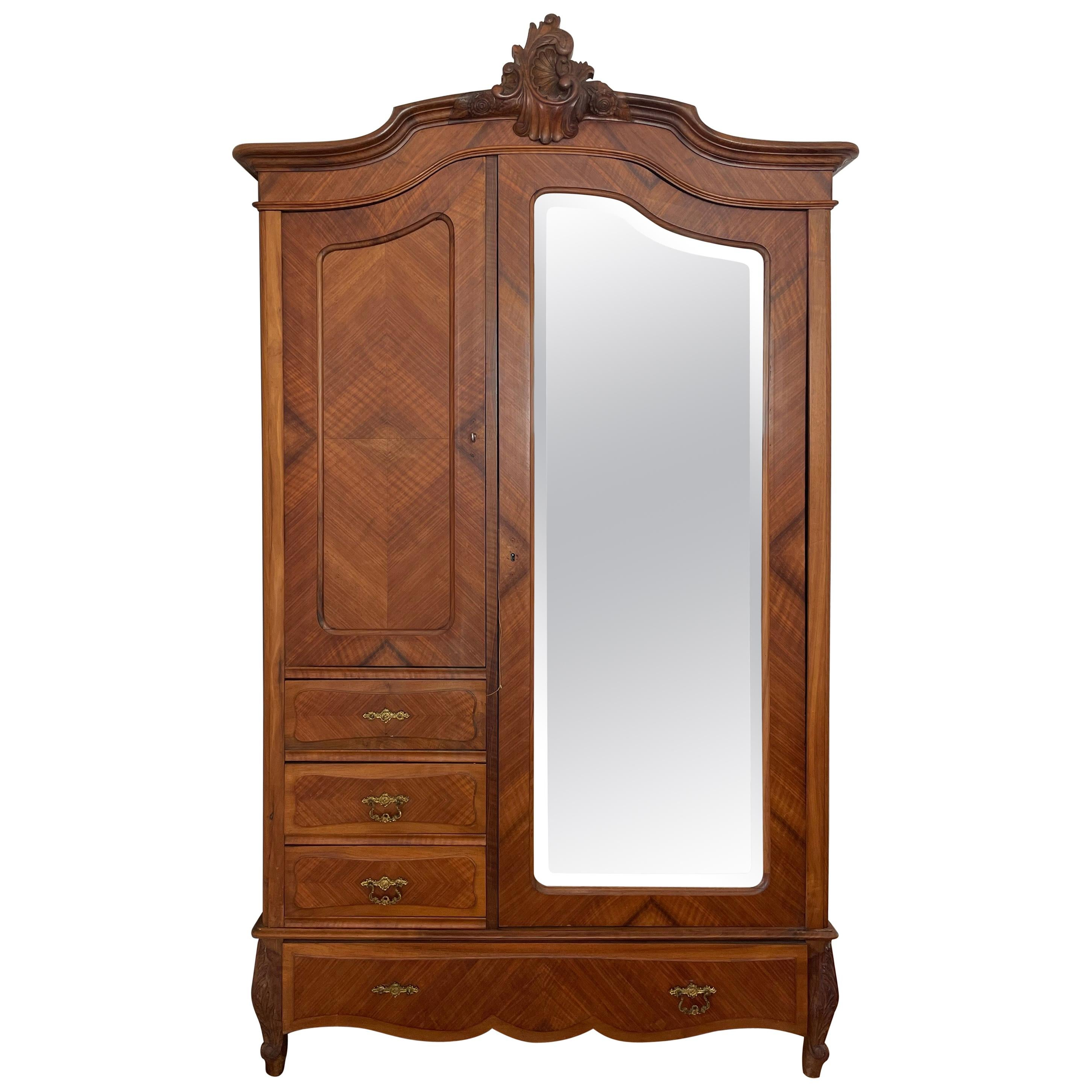 Carved Walnut Louis XV Style Armoire / Wardrobe with Mirror, France, circa 1900