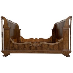 Carved Walnut Neoclassical Full Size Bed Frame, 20th Century