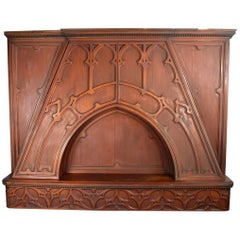 Carved Walnut Tudor Over-Mantel