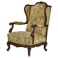 Carved Walnut Wingback Armchair, 19th Century