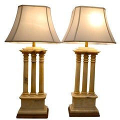 Carved White Alabaster Lamps Modelled After Roman Temple Ruins