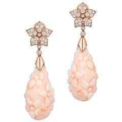 Goshwara Carved White Coral Drop Earrings
