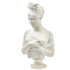 Carved White Marble Bust of Madame Recamier, French, Late 19th Century