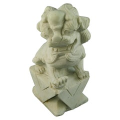 Carved White Marble Foo Dog Garden Sculpture