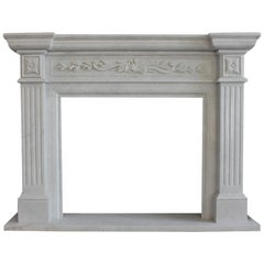 Carved White Marble Neoclassical Style Fire Surround