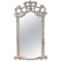 Carved White- Washed Wooden Mirror from Spain