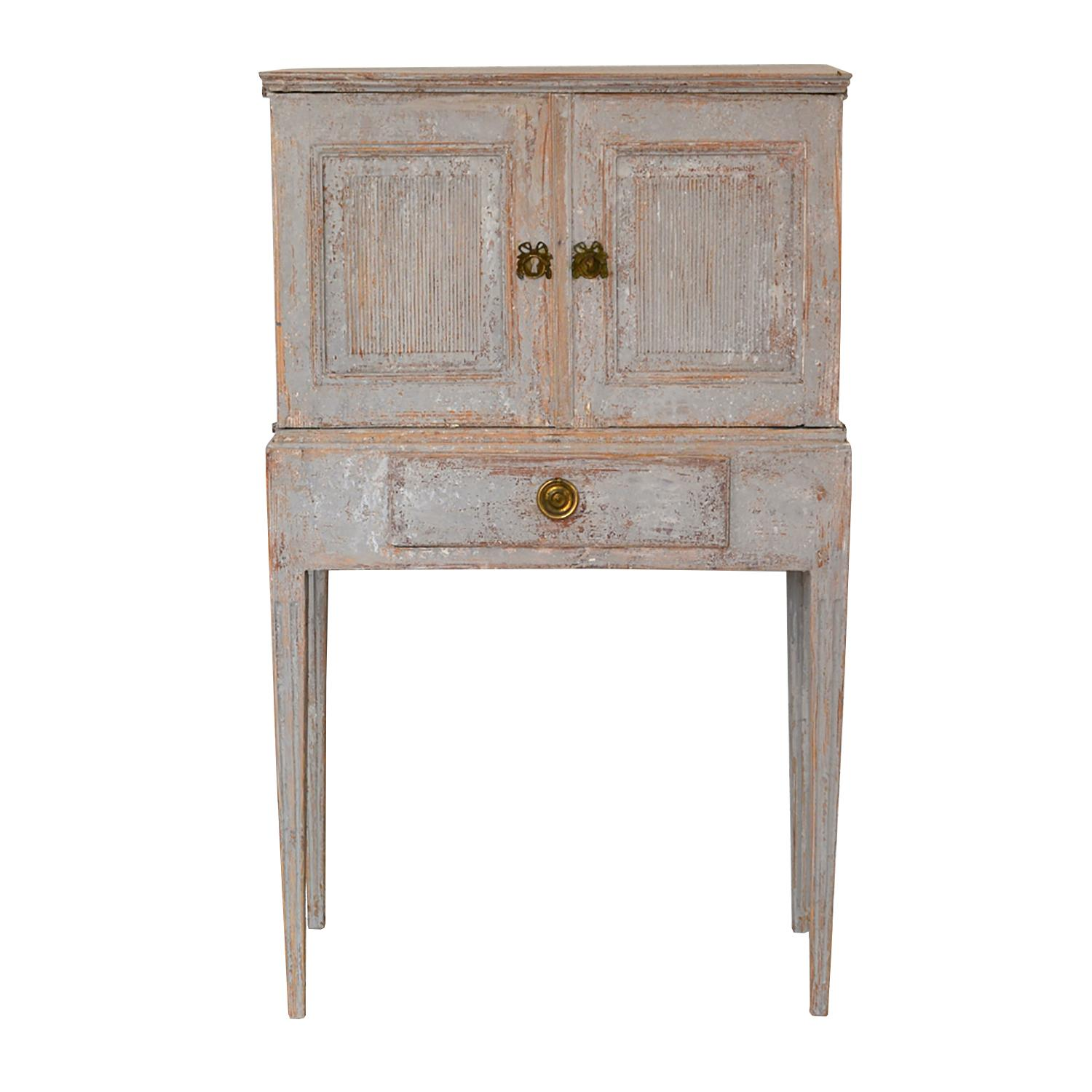 Carved Wood 18th Century Gustavian Cabinet Cupboard