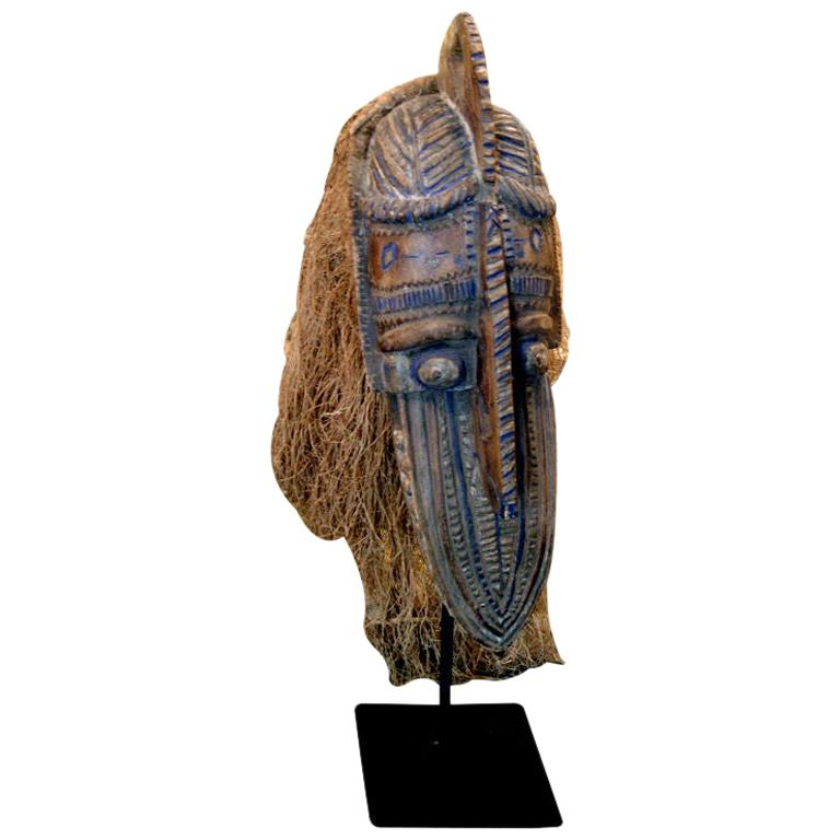 Carved Wood African Headdress on Later Iron Stand