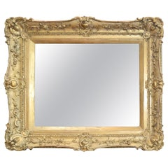 Carved Wood and Gesso Gilded Framed Mirror
