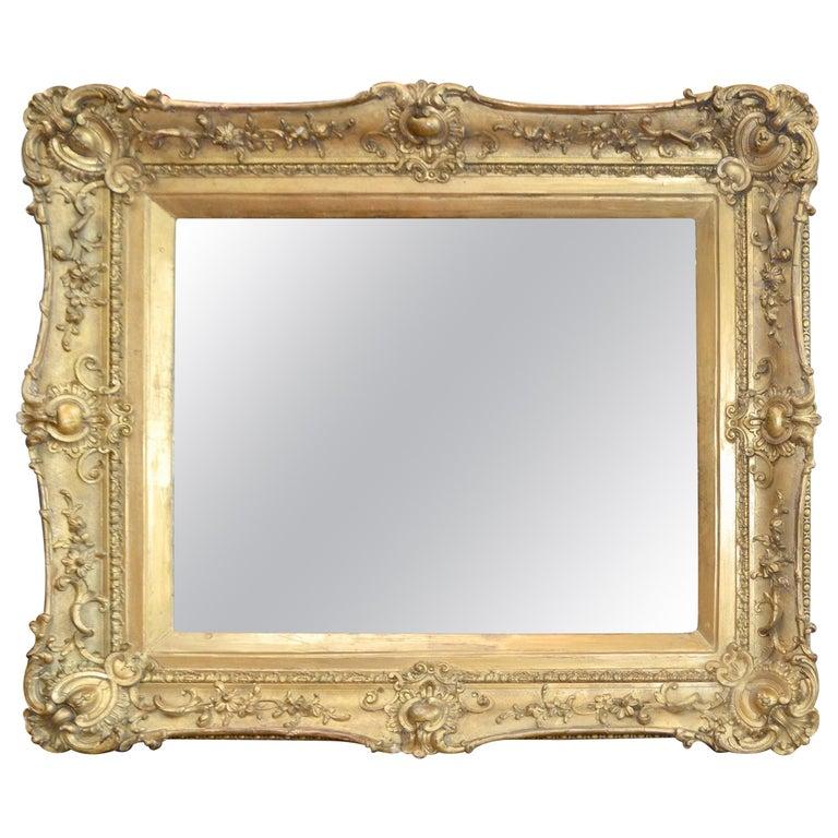 Carved Wood And Gesso Gilded Framed, Antique Wooden Frame Mirror