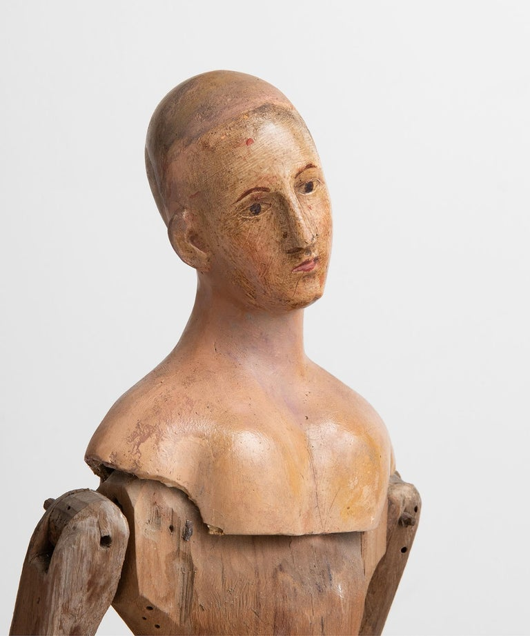 Italian Carved Wood and Paper Mache Santos Figure, Italy, circa 1870 For Sale