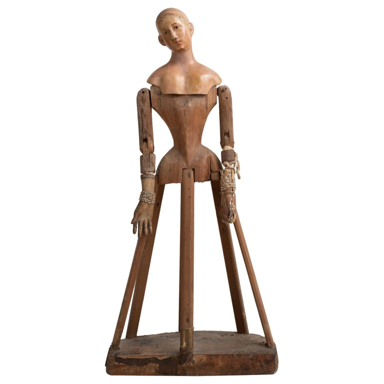 Carved Wood and Paper Mache Santos Figure, Italy, circa 1870 For Sale
