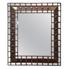 Carved Gold Gilt Wood with Pieced Inset Mirrors Framed Mirror, Spain, 1950s