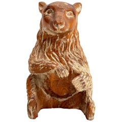 Carved Wood Bear Sculpture by Sarried