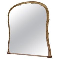 Carved Wood Birch Branch Mirror
