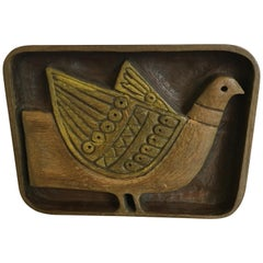 Carved Wood Bird Plaque by Evelyn Ackerman