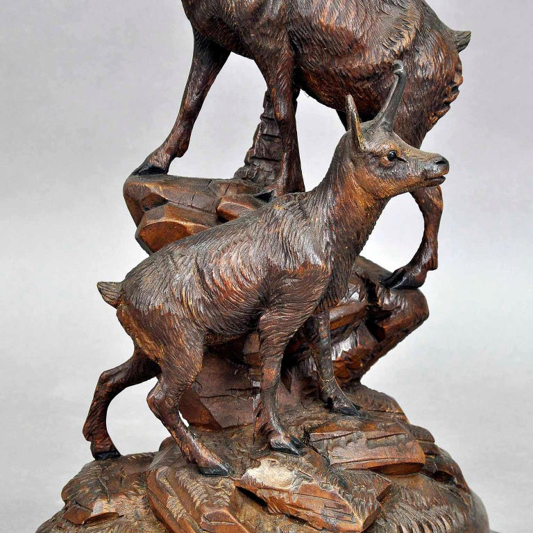 Black Forest Carved Wood Chamois Group, Austria, circa 1920 For Sale