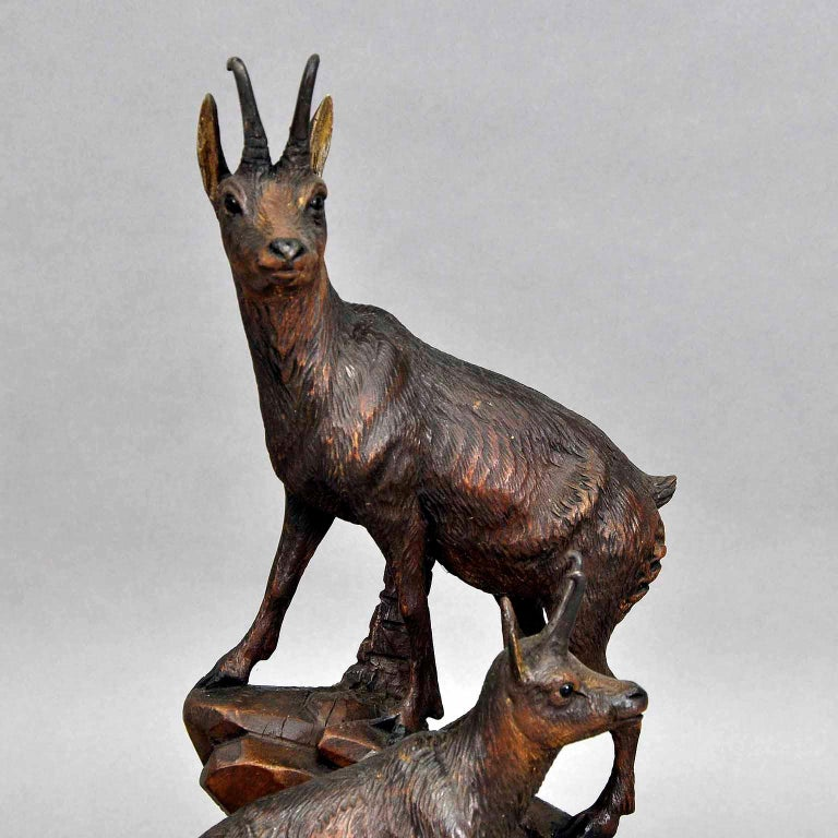Swiss Carved Wood Chamois Group, Austria, circa 1920 For Sale
