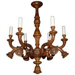 Carved Wood Chandelier
