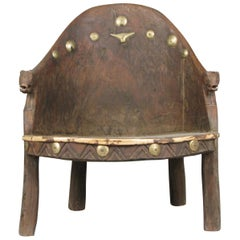Carved Wood Chief's Chair from Nagaland, India