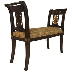 Carved Wood Classical Bench with Gilt Accents