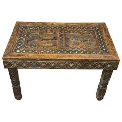 Hand Carved Decorative Wood Coffee Table, Morocco, 19th Century