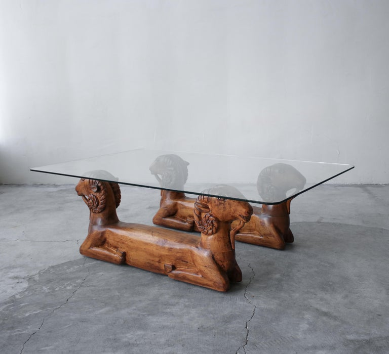 Hollywood Regency Carved Wood Double Rams Head Coffee Table For Sale